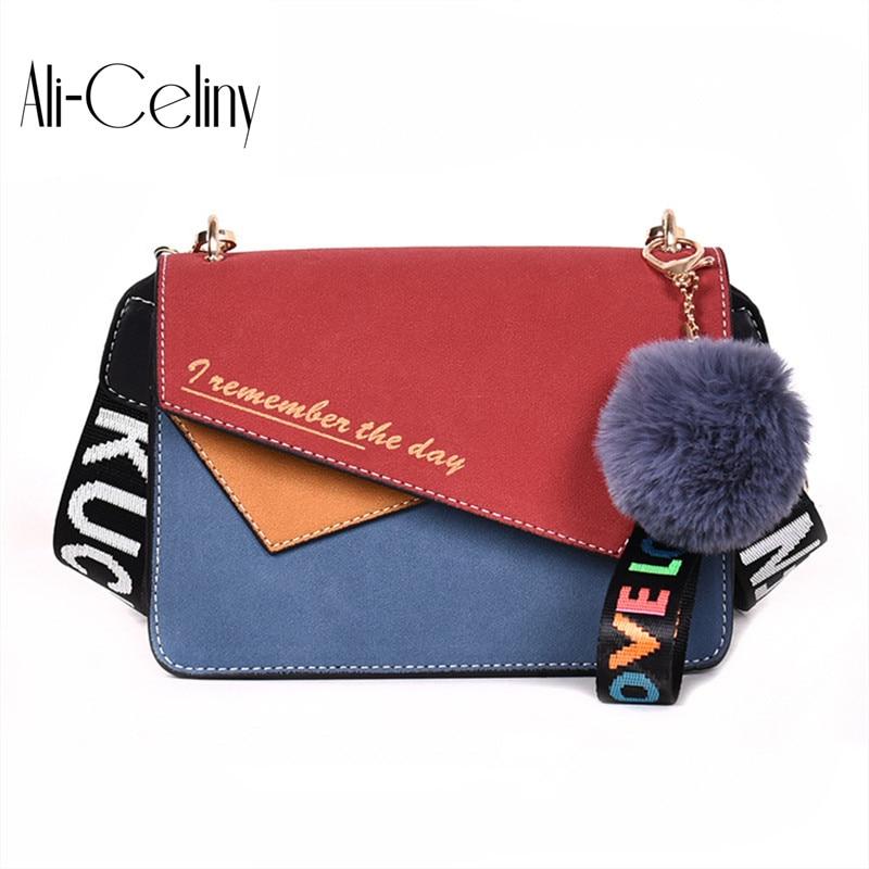 New Korean Fashion Contrast Color Messenger Bag Wide Shoulder Strap Joker Single Shoulder Bag Tide Wool Ball Pendant