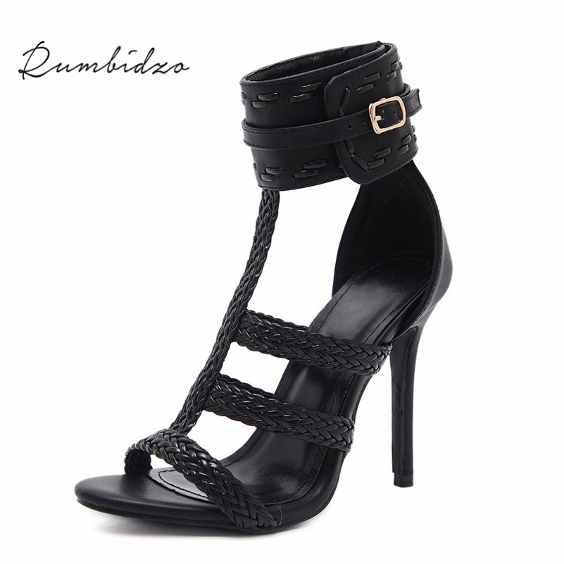 Rumbidzo 2018 Fashion Women Plus Size Summer High Heels Shoes Women Pumps Peep Toe Rome Party Shoes Thin Heel Buckle Strap
