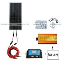 1000 Вт солнечная панель комплект 100 Вт Инвертор 20A солнечная панель контроллер для 12 в автомобильный аккумулятор
