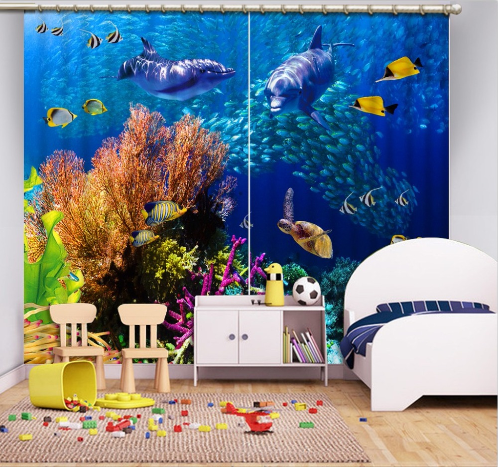 customize 3d curtains for living room bedroom window kids room curtains girls Ocean World blackout curtains    customize 3d curtains for living room bedroom window kids room curtains girls Ocean World blackout curtains