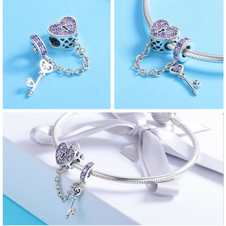 100% 925 Sterling Silver Key of Heart Lock Crystal CZ Chain Charms