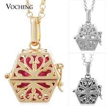 10 pcs/lot 3 couleurs Vocheng Cage boule collier aromathérapie diffuseur médaillon doux Musical avec chaîne en acier inoxydable VA 058 * 10