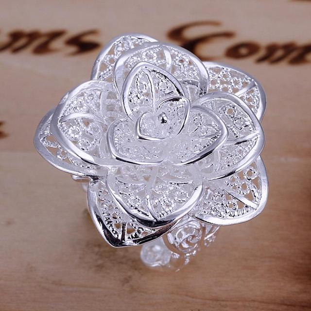 Fashion Holiday Gifts 925 Silver Rings High Quality Three Layer Flower Championship Ring Women Bijoux Christmas Gifts SPCR116