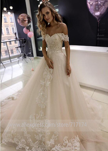 Image 2 - Sequined Tulle Sweetheart Neckline A line Wedding Dresses with Beaded Lace Applique Bridal Dress Zipper vestido de novia