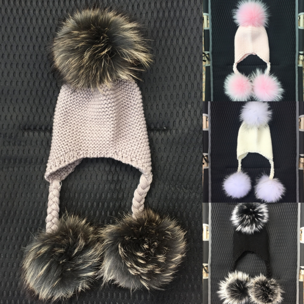 LAURASHOW Winter Kids Real Mink Raccoon Fur Ball Pompoms Hat Children Knitted Girls Boys Warm Cap Baby Beanies Wool