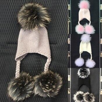 LAURASHOW Winter Kids Real Mink Raccoon Fur Ball Pompoms Hat Children Knitted Girls Boys Warm Cap Baby Beanies Wool