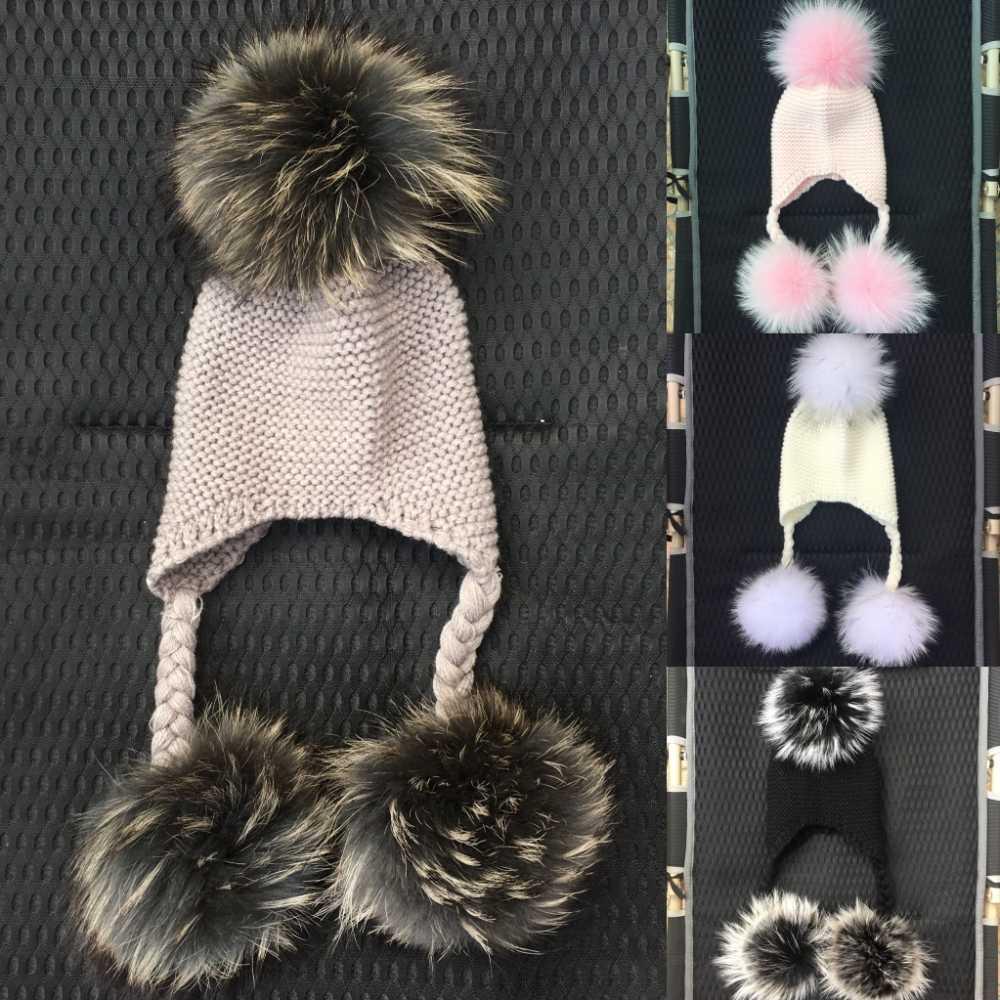 8f6b0b13a25 LAURASHOW Winter Kids Real Mink Raccoon Fur Ball Pompoms Hat Children  Knitted Girls Boys Warm Cap