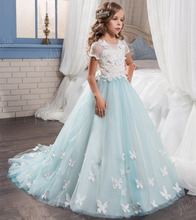 2017 Tulle Lace Appliques Flower Girls Dress Short Sleeve First Communion Dresses New Girls Pageant Dresses