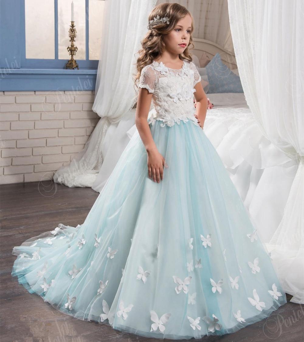 2017 Tulle Lace Appliques Flower Girls font b Dress b font Short Sleeve First Communion font