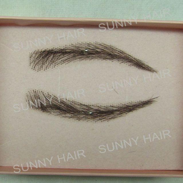 Europe eyebrow shape custom eyebrow invisible swiss lace relastic hand made human hair false eyebrow Black #1B color EB01305