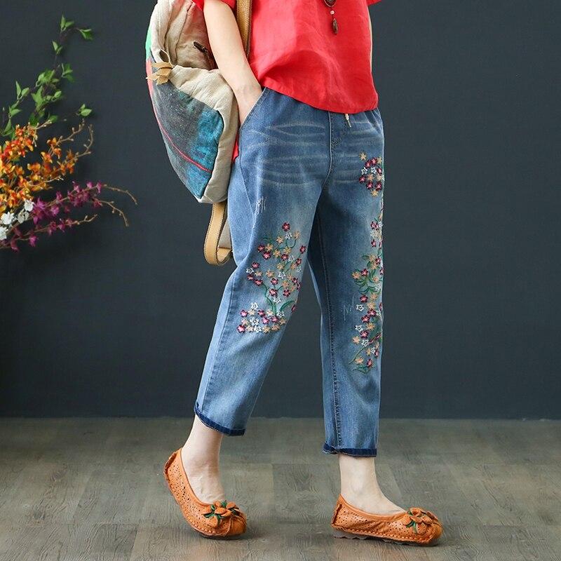 Vintage Floral Brodé Jeans 2019 Nouveau Printemps D'été Harem Jeans Femmes Casual Mi Taille Denim Pantalon Plus La Taille 3XL