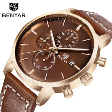 BENYAR NEW Mens Watches Reloj Hombre Top Brand Luxury Quartz Leather Watch Men Sport Waterproof Military Wrist Watch Clock Saati все цены