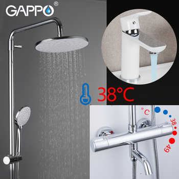 GAPPO Shower System white chrome bathroom thermostatic shower faucet mixer wall mounted bathroom shower head set basin mixer - DISCOUNT ITEM  52% OFF All Category