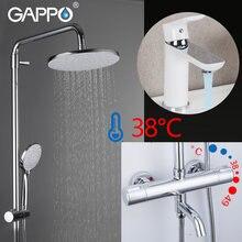 Gappo Душевая система белый хром термостатический смеситель