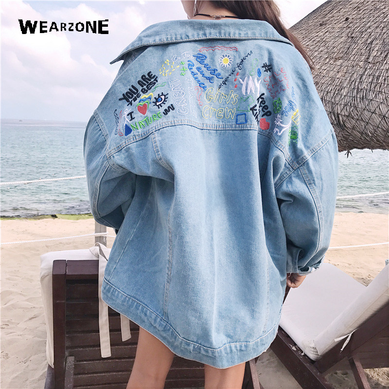 2017 Autumn female Oversize jean jacket casual double pocket decorated denim jacket clothing embroidery women jacket coat pocket