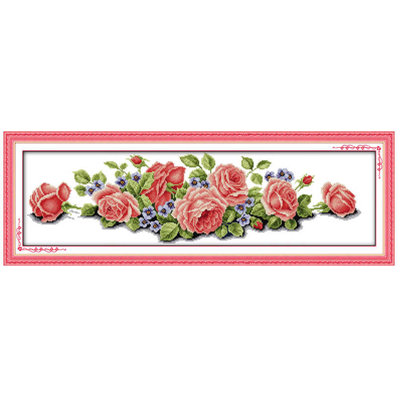 Rose ปักครอสติส 11CT พิมพ์ 14CT Handmade ปักครอสติสชุดดอกไม้ชุดเย็บปักถักร้อย