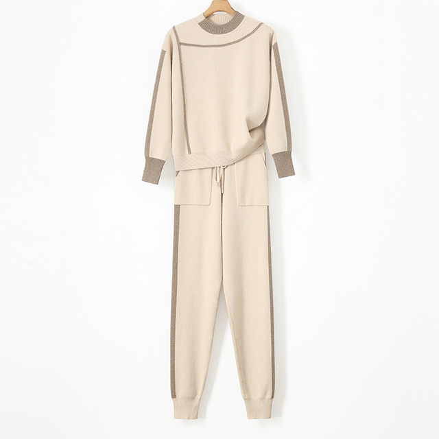 Tracksuits Rushed Wool Bamboo Fiber Full O-neck Drawstring Winter Warm Cashmere Suit  New Sweater + Trousers Two Sets Of
