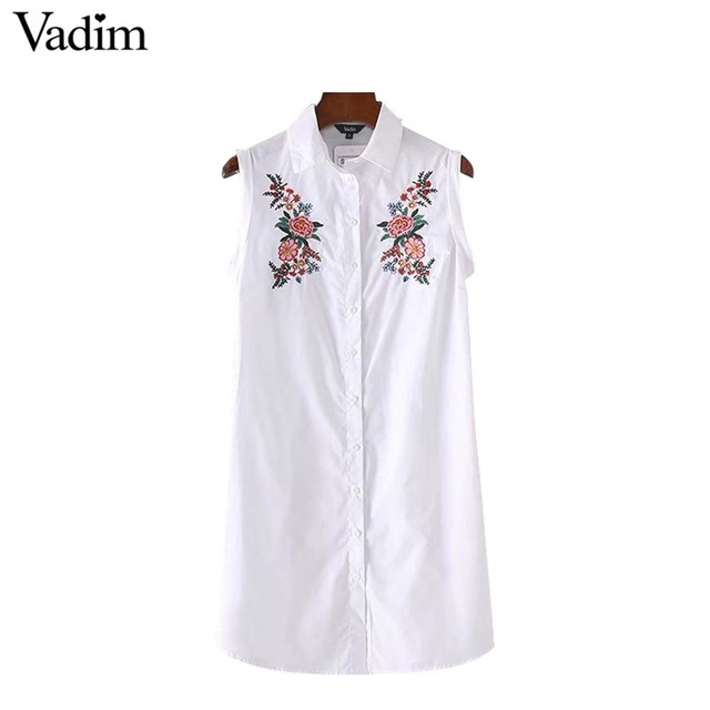 Vadim women floral embroidery striped dress sleeveless turn down collar pleated ladies casual brand mini dresses vestidos QZ3110
