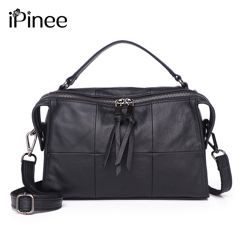 iPinee 100% Genuine Leather Women Handbags European And American Style Female Shoulder Bag Simply Design Plaid