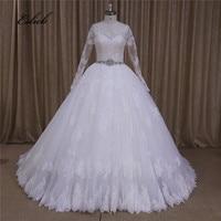 Đại Ren Appliques Sheer Vạt Áo Full Sleeves Bóng Gown Wedding Dress Hạt Sash Nút Trở Lại Váy Lớn Bridal Dress