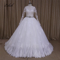 Grand Lace Appliques Sheer Bodice Full Sleeves Ball Gown Wedding Dress Beads Sashes Button Back Large Skirt Bridal Dress