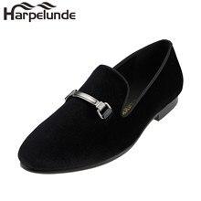 Harpelunde Black Velvet Loafers Buckle Flat Shoes