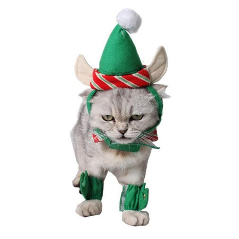 1Set Pet Products Cute Cats Ely Costumes Suits Home Party Christmas Festivals 4pcs Set Green Clamp Cat Hat Ear Hole Dog Hats