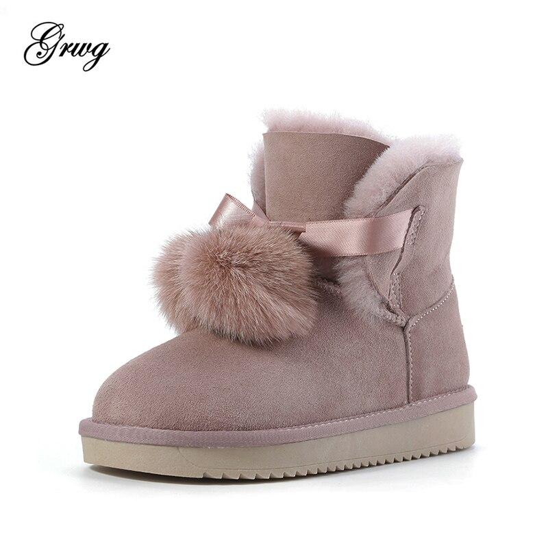 2019 nueva llegada Australia botas clásicas de mujer piel auténtica piel de oveja cuero botas de nieve zapatos de mujer-in Botas de nieve from zapatos    1