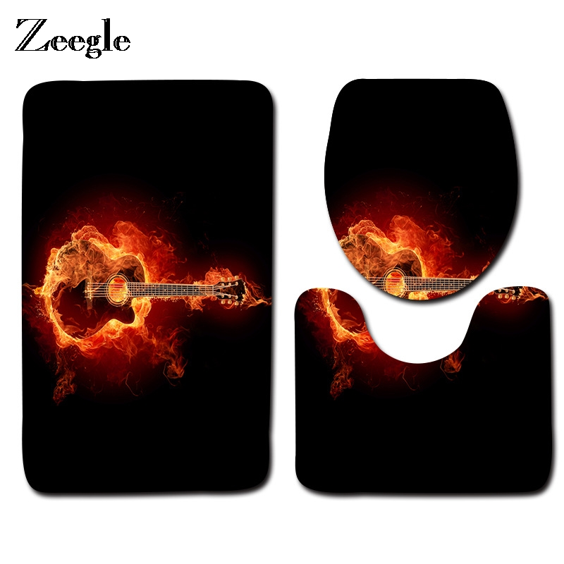 Zeegle Gitar Printed Bathroom Carpet 3Pieces Toilet Mats Set Anti-slip Bath Rug Toilet Lid Covers Absorbent Shower Mat Foot Pads