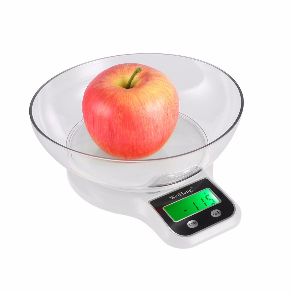 Electronic Digital Kitchen Food Scale 0.1g-3kg with Green Backlight Bowl Large LCD Display for Baking Cooking Dieters