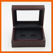 Promotion Top Clear  Wooden Boxes 2 Holes Rings Position Championship Ring 2 Holes Rings Boxes