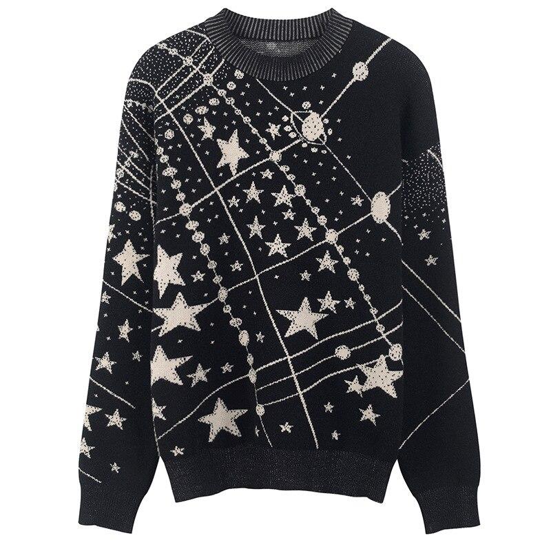 2018 automne hiver Laides Jacquard pulls rétro galaxie étoile motif chandail femmes Vintage à manches longues pulls