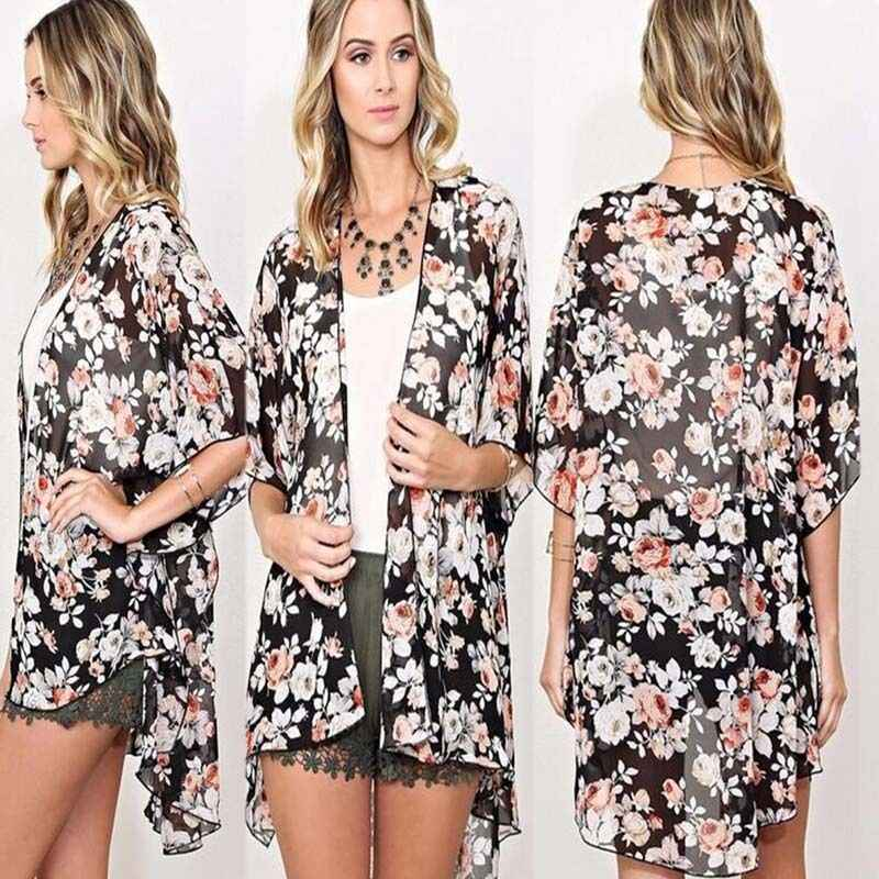 33b076e124eb Mujeres Floral gasa Kimono Cardigan blusa playa Bikini cubrir arriba ...