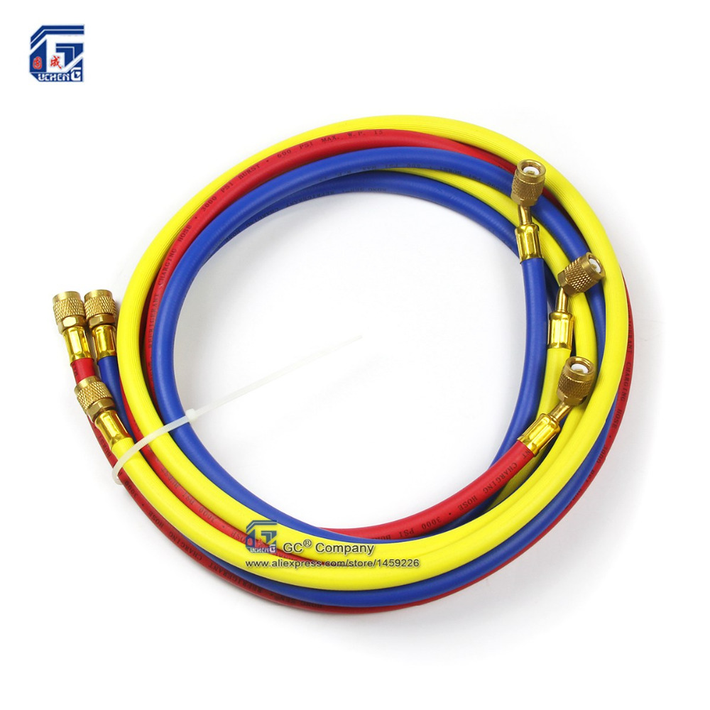 72'' ( 1.8 meters ) 1/4'' SAE Refrigerant Charging Hose Three color R12 <font><b>R22</b></font> R134a R502 404A for Car A/C <font><b>Air</b></font> <font><b>Conditioner</b></font> System image