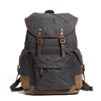 Vintage Leather Canvas Backpack Men Large Capacity Waterproof Travel Rucksacks Youth Designer Daypacks Dropshipping Back Packs