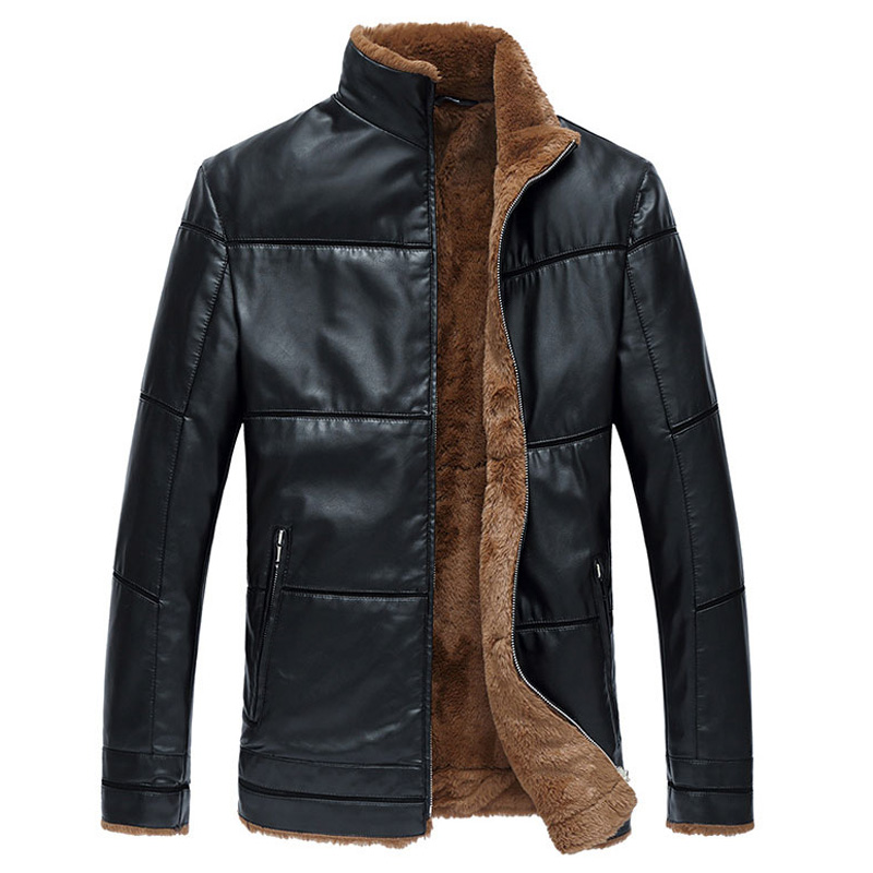 Plus Size 8XL Big and Tall Men Fur Lined Leather Jackets Winter ...