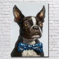 أسود الكلب النفط اللوحة الحديثة غرفة المعيشة ديكور المنزل الفن صورة مؤطرة اللوحة الزخرفية الجميلة بالجملة للبيع