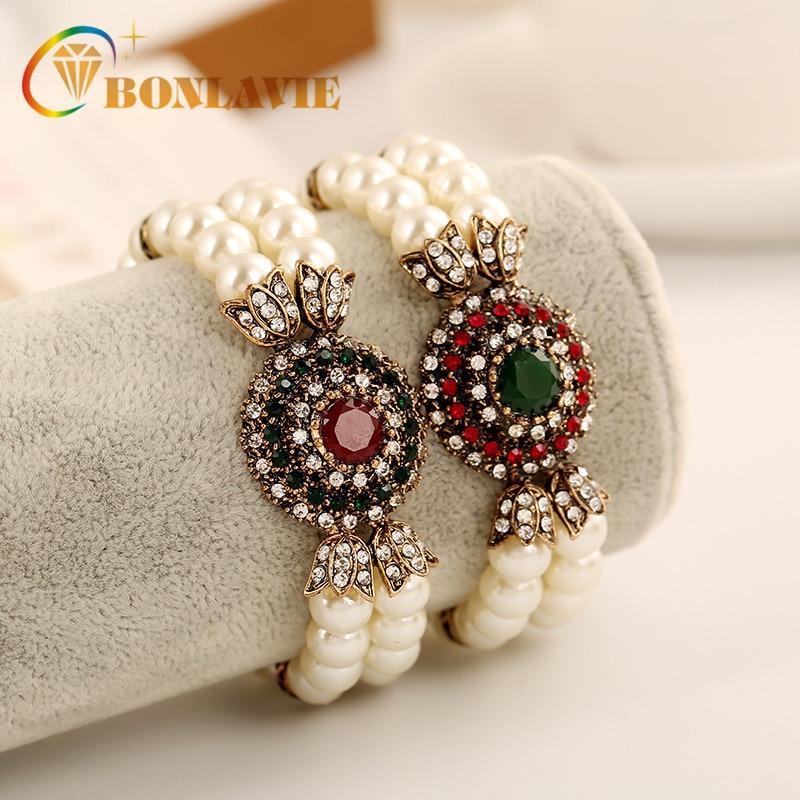 New Arrivel Vintage Pearl Bracelets Red And Green Color Alloy Setting Bracelets For Women Girl Best Gifts
