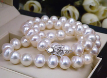wedding Women Jewelry Necklace 11mm Bright white Pearl Choker Necklace Natural Freshwater Pearl