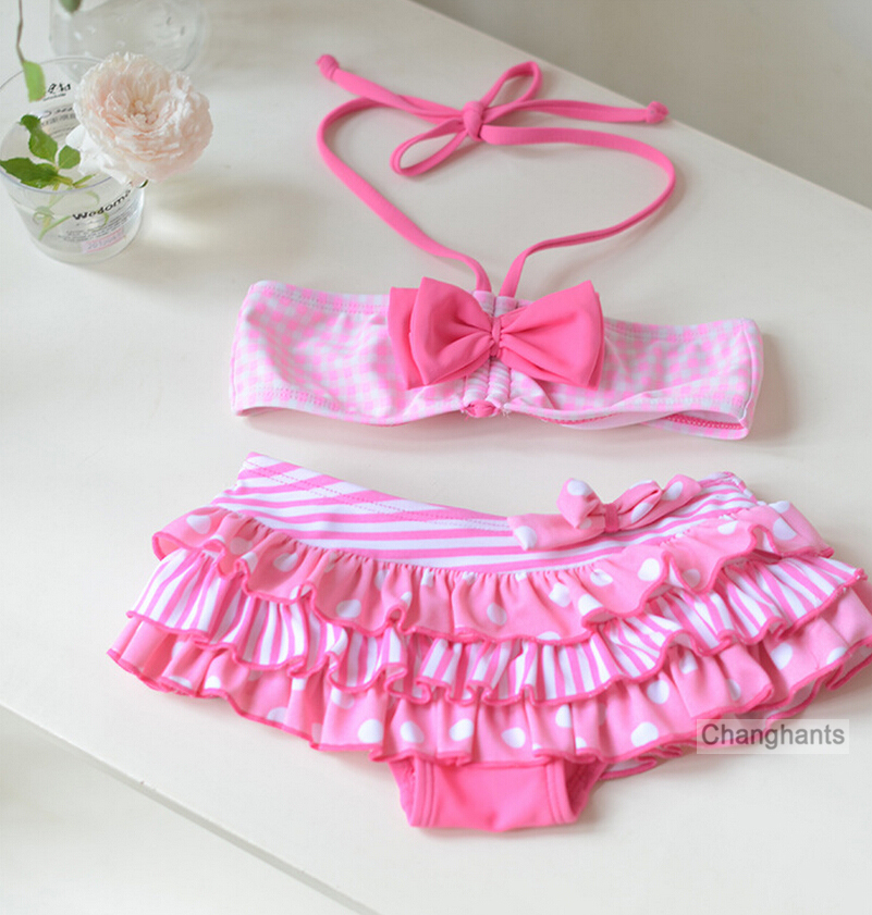 Girls Swimwear 2 Pieces Pink Plaid and Bow-knot Design 2-8Y Kids Bikini Set Children Swimming Wear Bathing Suit