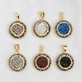 New Style 5pcs Gold Plated Bezel Round Natural Agate Titanium Drzuy Pendant Bead Paved Zircons JAB221