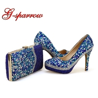 Royal Blue Rhinestone Wedding Shoes with Purse Handmade Gorgeous Party Prom Pumps Matching Bag Cinderella Prom High Heels Clutch