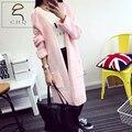 Mulheres camisola longa cardigan 2016 outono inverno moda estilo longo manga um casaco de malha grossa camisola cardigan feminino longo