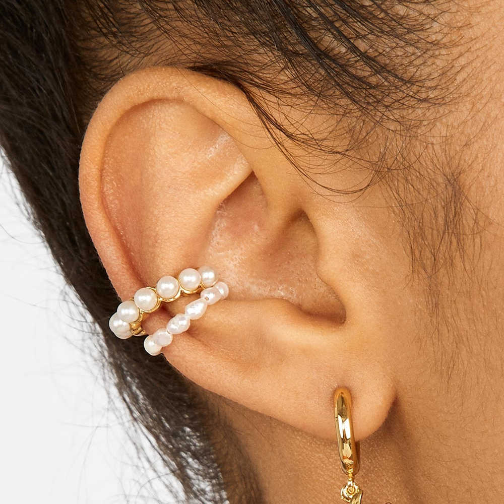 2019 New Women Pearl Ear Cuff Earring Bohemian Natural Freshwater Circle Small Clip Earring Fashion Wedding Party Jewelry Gift
