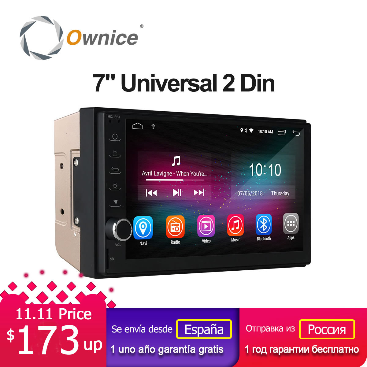 Ownice K1 Intelligent Car Tablet PC Android 8.1 Universal 2 Din Car Radio GPS Navigation for Nissan Toyota VW Peugeot RAM 2G