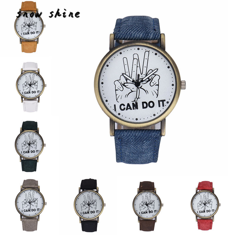 snowshine 10xin Women Men I Can Do It Victory Sign Leather Strap Quartz Wrist font b