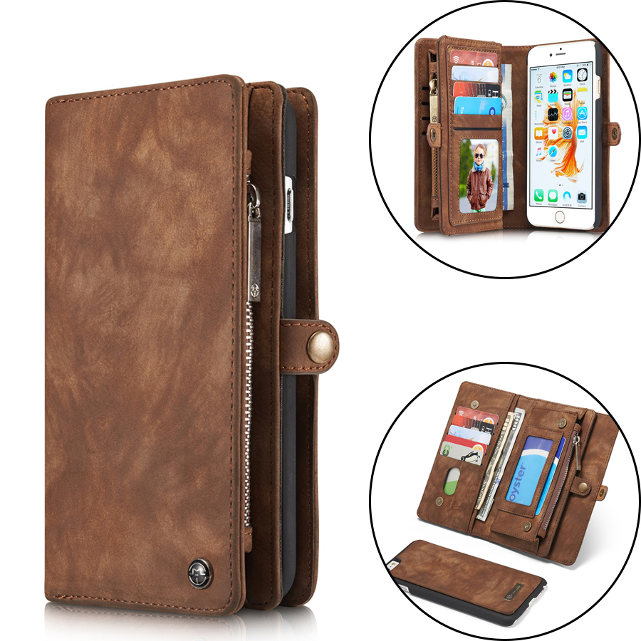 Luxury Flip Leather Case Cover For iPhone 7 7 Plus 6 6s Plus Card Slots Wallet Magnet Removable Phone Fundas Stand Accessories чехлы марвел