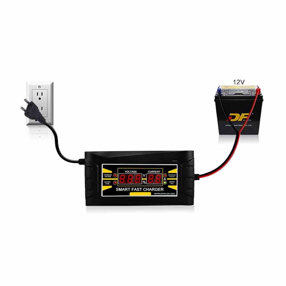 Uni Eropa Plug Penuh Otomatis Cerdas 12V 10A Asam/Gel Baterai Charger LCD Display Smart Mobil cepat Baterai Charger