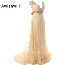 Champagne Color Short Sleeve V-neck Beaded Lace Tulle Pregnant Evening Dresses Long Women Formal Special Occasion Dress 2017