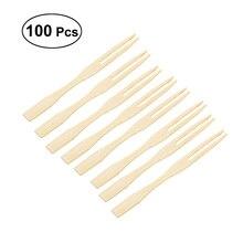 100 шт бамбуковые Фруктовые палочки одноразовые фруктовые вилки палочки для еды вечерние принадлежности